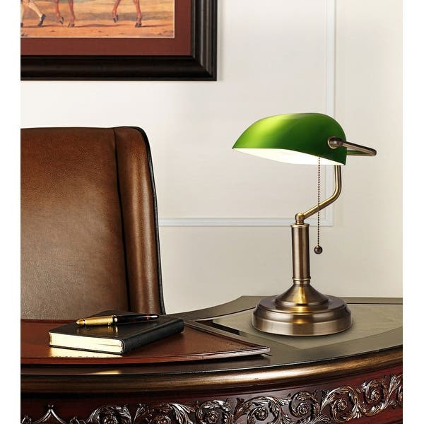 Banker Style Desk Lamp With Emerald Color Gl Shade