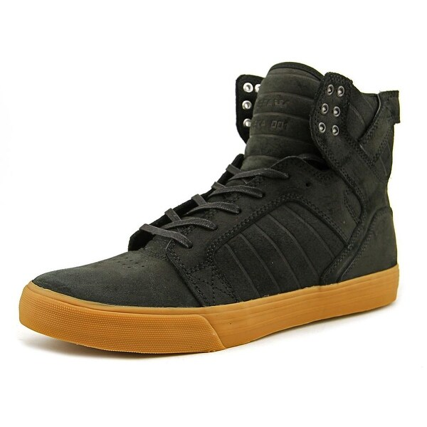 Supra Skytop Men Round Toe Leather Black Skate Shoe