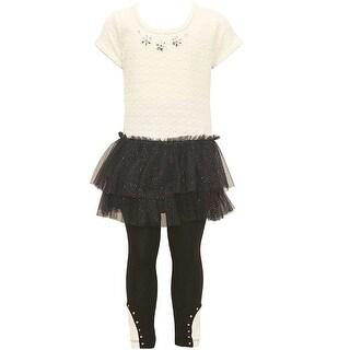 Little Girls Ivory Black Glitter Floral Applique Studded Legging Outfit