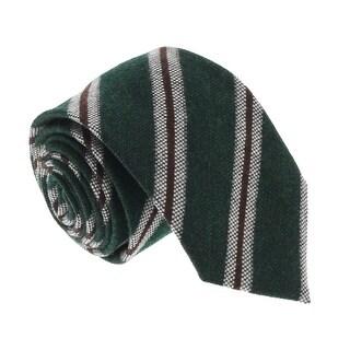 Missoni U5145 Green/Brown Regimental 100% Silk Tie - 60-3
