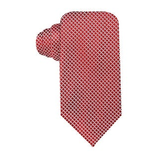 Geoffrey Beene Mens Hand Made Mini Grid Classic Tie Red and White