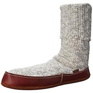 Acorn Mens Cable Knit Wool Slipper Socks - L