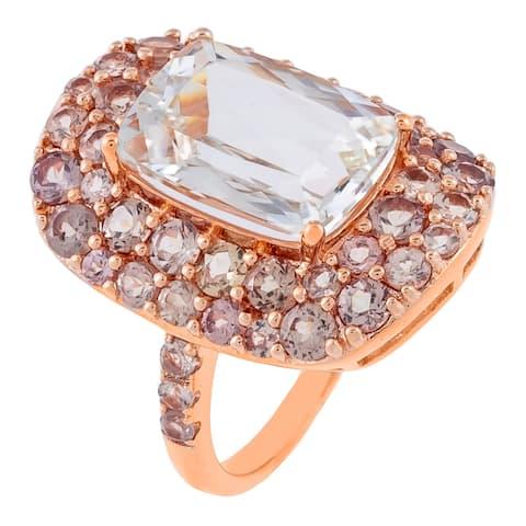 Cushion-Cut White Kunzite Gemstone Cocktail Ring, Sterling Silver