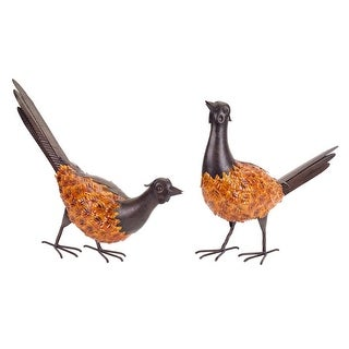 Set of 2 Rustic Autumn Harvest Metal Pheasant Bird Figures with Orange Leaf Accents 17.25""