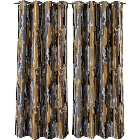 Porch & Den Nova Ink Blue Brush Pattern Blackout Curtain Panel Pair