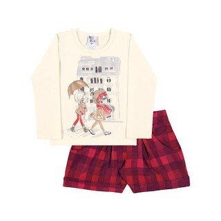 Toddler Girl Outfit Long Sleeve Shirt and Plaid Shorts Pulla Bulla Size 1-3 Year