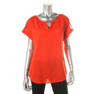 Calvin Klein Womens Crepe Cuff Sleeves Pullover Top