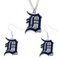 Detroit Tigers Necklace and Dangle Earring Charm Set MLB