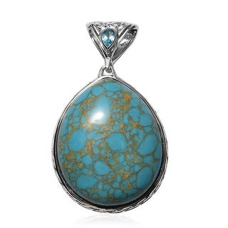 Link to Platinum Over 925 Silver Labradorite Blue Turquoise Pendant Ct 57.5 Similar Items in Earrings