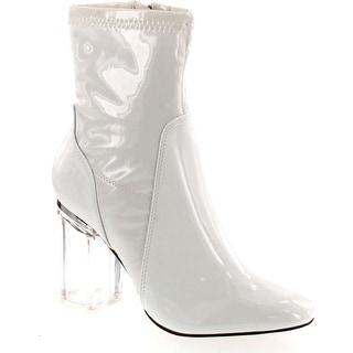 Static Footwear Cameron-3 Women Patent Leatherette Lucite Block Heel Bootie
