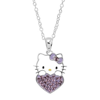 Girl's Hello Kitty June Heart Pendant with Crystals in Sterling Silver-Plated Brass