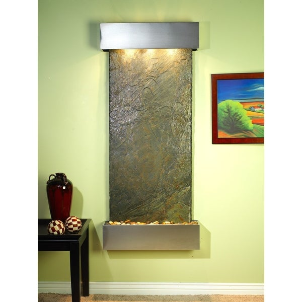 Adagio Inspiration Falls Fountain w/ Green Natural Slate in Stainless Steel Fini