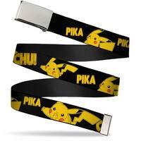 Blank Chrome  Buckle Pikachu Attack Poses Pika Chu! Black Yellow Web Belt - S