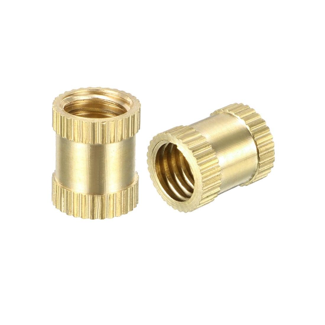 Brass Knurled Threaded Insert Embedment Nuts 5 Pcs x 10mm L OD M8 x 8mm