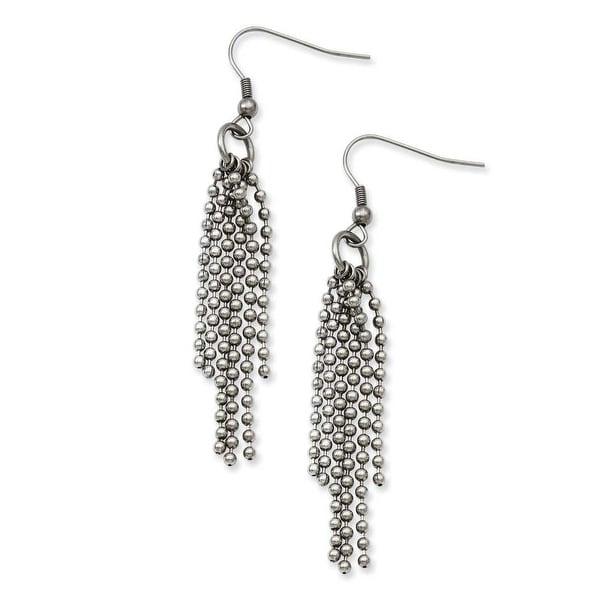 Stainless Steel Multistrand Ball Chain Dangle Earrings