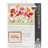 "Poppy Pattern Counted Cross Stitch Kit-14""X11"" 14 Count"