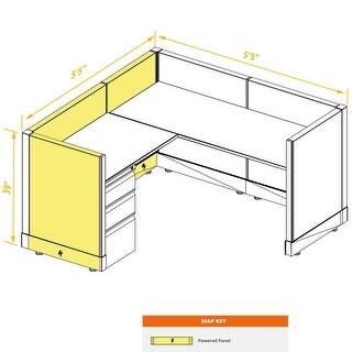 System Furniture 39H Powered (5x5 - Espresso Desk Silver Paint - Assembled)