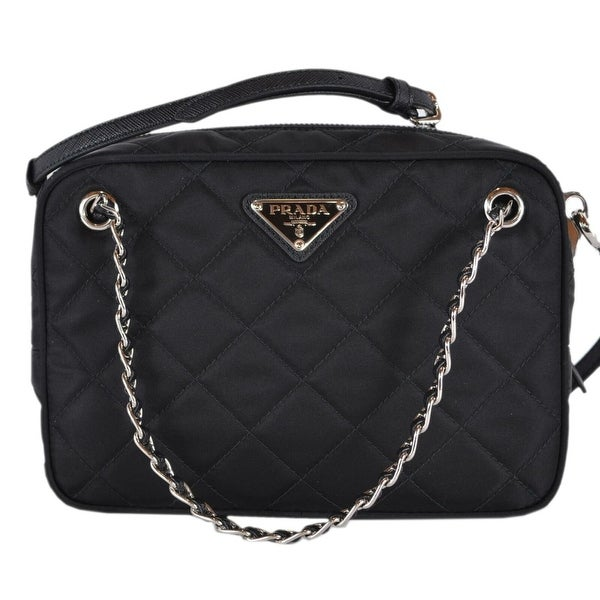 4a7415ab6fb2e9 Prada 1BH910 Black Quilted Tessuto Nylon Bandoliera Crossbody Purse Handbag
