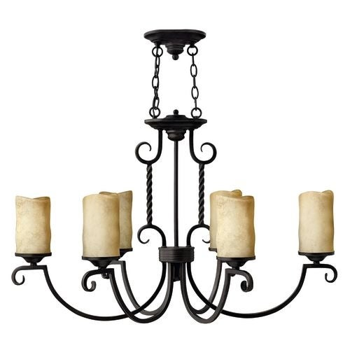 Hinkley Lighting H3508 Casa 6 Light 1 Tier Candle Style Pillar Candle Chandelier