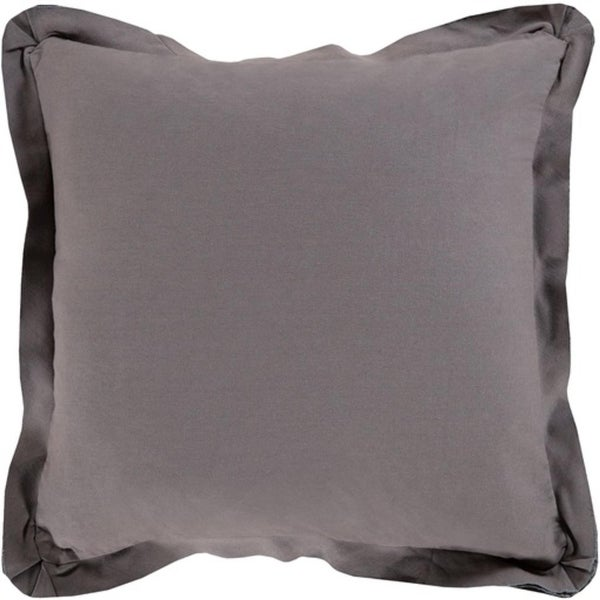 "18"" Taupe Gray Flanged Trim Decorative Throw Pillow - Down Filler"