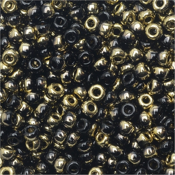 BeadSmith Unions, 8/0 Round Seed Beads, 22 Gram Tube, Black Amber