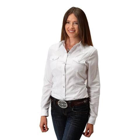 Roper Western Shirt Womens Long Sleeve Solid White