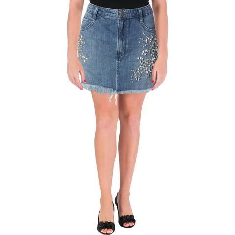 Free People Womens Denim Skirt Embellished Mini - 4