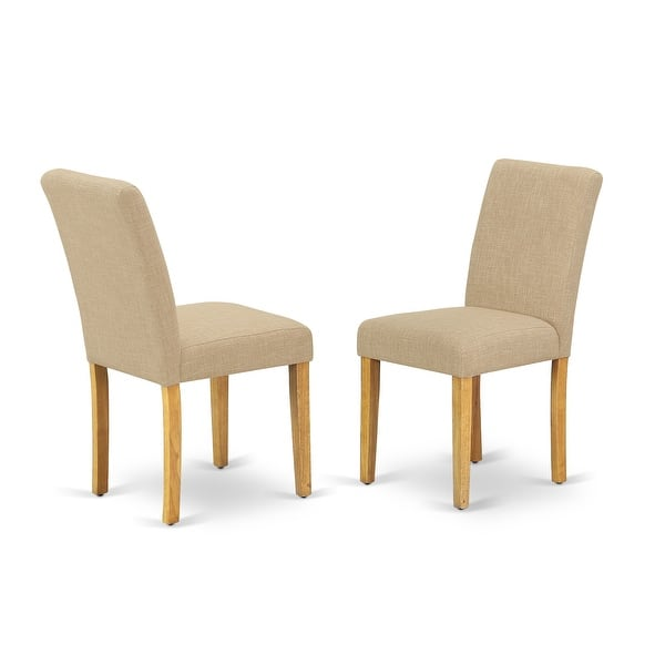 East West Furniture Abp4t04 Abbott Parson Chair With Oak Leg And Linen Fabric Light Fawn Set Of 2 Overstock 28374944