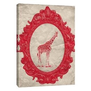 "PTM Images 9-105909  PTM Canvas Collection 10"" x 8"" - ""Framed Giraffe in Crimson"" Giclee Giraffes Art Print on Canvas"