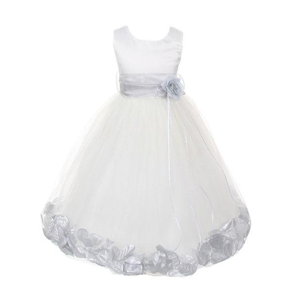Kids dream big girls white satin silver petal sash flower girl dress kids dream big girls white satin silver petal sash flower girl dress 8 12 mightylinksfo