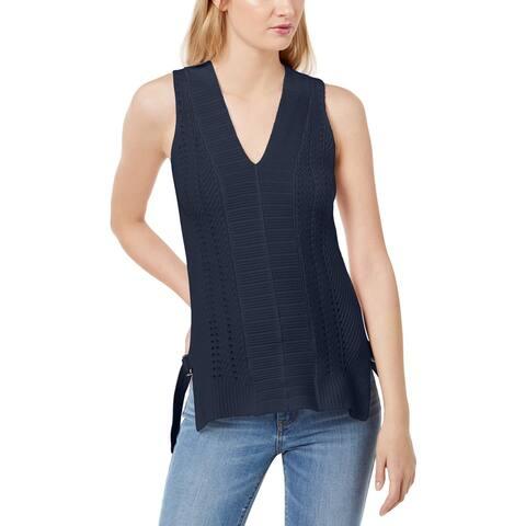 525 America Womens Petites Sweater Vest V-Neck Buckle - Midnight - PL