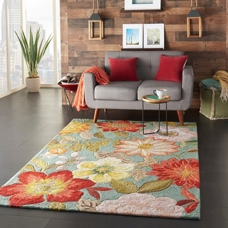 Link to Nourison Fantasy Oversized Contemporary Floral Wildflowers Area Rug Similar Items in Rugs