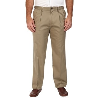 Dockers Big and Tall Signature Khaki Pleated Chinos Pants Beige 44W x 32L - 44