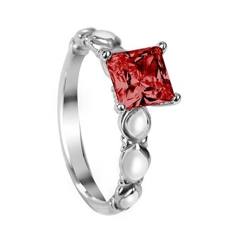 CEARA Four Prong Vintage Princess Cut Solitaire Ruby White Gold Engagement Ring - Red