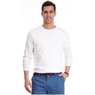 Nautica V-Neck Sweater Small S Bright White Luxury Linen Blend Pullover