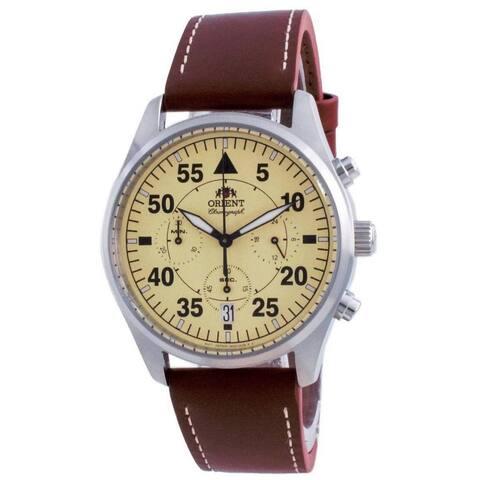 Orient Men's RA-KV0503Y10B 'Flight Style' Chronograph Brown Leather Watch - Beige