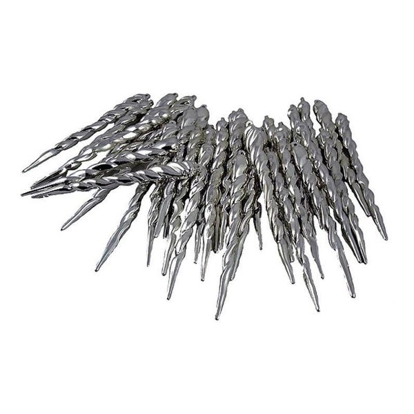 Club Pack of 36 Light Gunmetal Gray Shatterproof Icicle Christmas Ornaments 5""