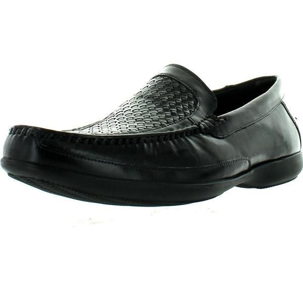 Clarks 07738 Mens Finer Weave Leather Loafers - Black Leather - 9.5 d(m) us