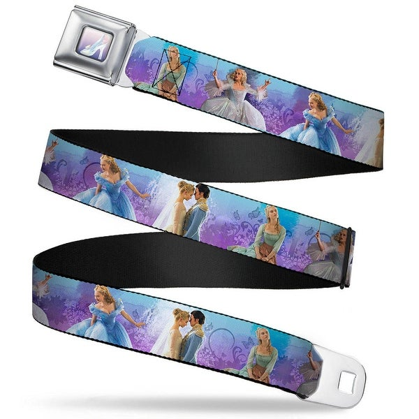 Cinderella'S Glass Slipper Full Color Cinderella Movie Scenes Blue Purple Seatbelt Belt