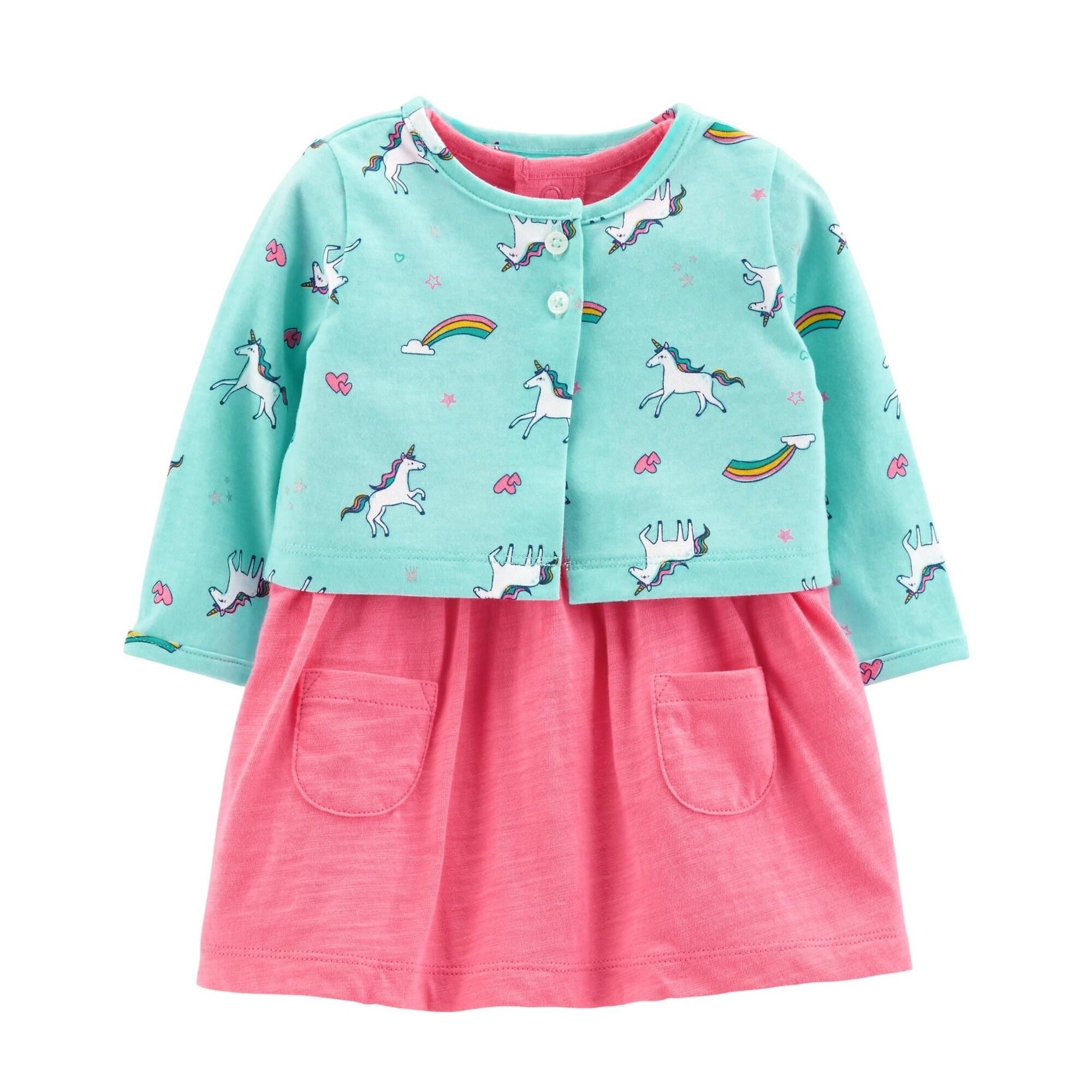 Carter's Baby Girls' 2 Piece Bodysuit Dress & Cardigan Set