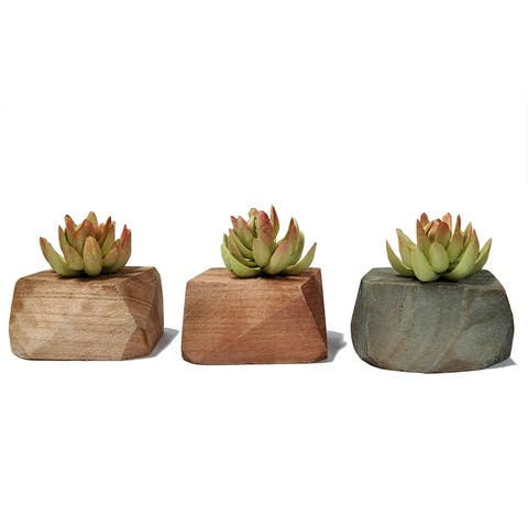MODA MDW-1011-812S wood pot with plastic plant - 4.33*3.54*4.33 inches