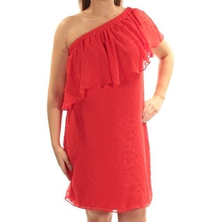 Womens Red Above The Knee Shift Casual Dress Size: 14