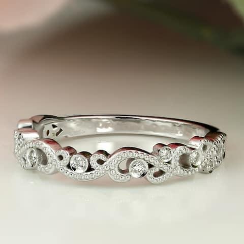 Auriya 18k Gold Vintage Stackable Diamond Wedding Band 0.06ctw