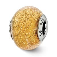 Italian Sterling Silver Reflections Dark Yellow with Gold Glitter Glass Bead (4mm Diameter Hole)