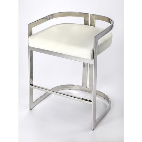 Butler Bravo Silver & White Faux Leather Counter Stool
