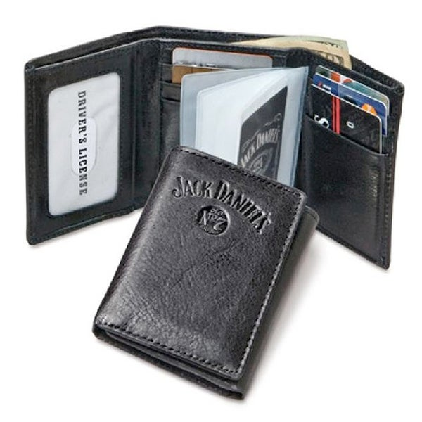 Officially Licensed Jack Daniels Leather Trifold Wallet - One size