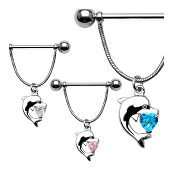 Surgical Steel Nipple Shield with Dolphin and Heart Shaped CZ (Sold Individually)