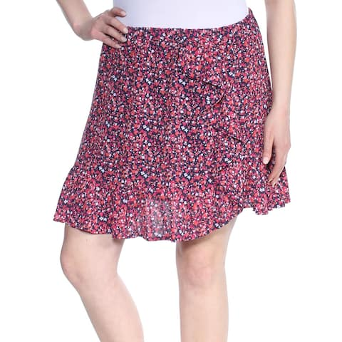 MICHAEL KORS Womens Navy Ruffled Floral Above The Knee Paneled Skirt Size: XL