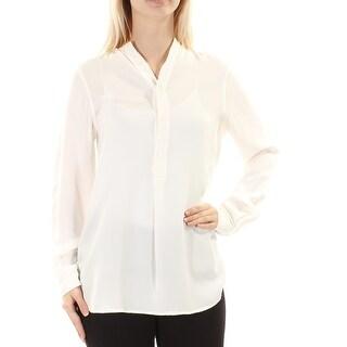 RALPH LAUREN $198 Womens New 1473 White Mandarin Collar Cuffed Blouse 4 B+B