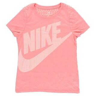 Nike Girls Mesh Back T Shirt Light Pink - Light Pink/White - M